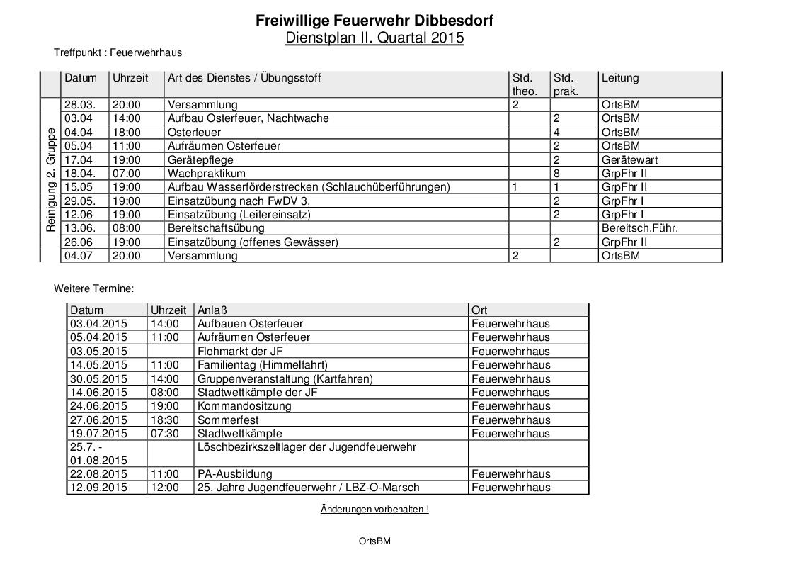 Quartalsdienstplan 2/2015