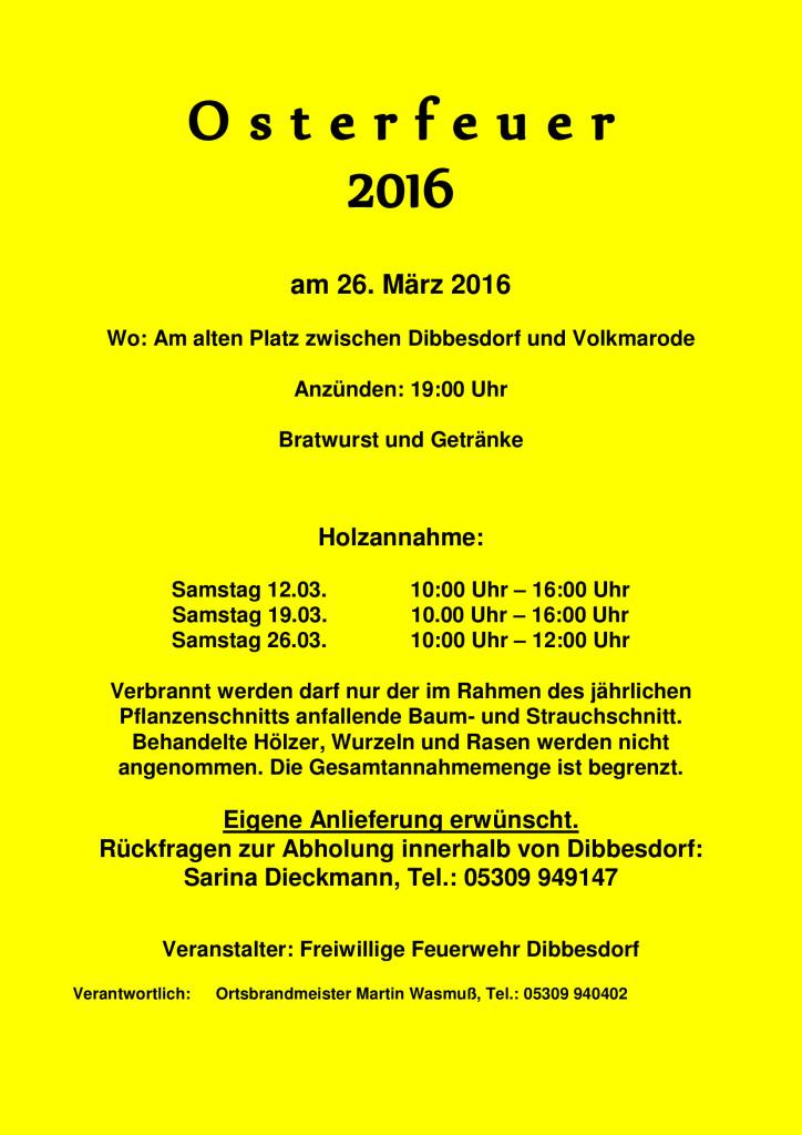 Osterfeuer Plakat 2016